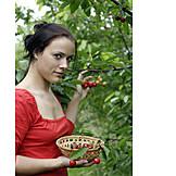 Woman, Cherries, Harvest