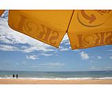 Couple, Beach, Parasol