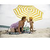 Toddler, Mother, Parasol, Beach
