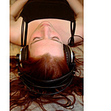 Young woman, Music, Relaxation, Listen, Headphones