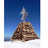 Wood pile, Summit, Mountain peak, Landmark
