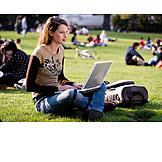 Mobile communication, Laptop, Lawn, Student