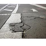 Road damage, Road marking, Pot hole