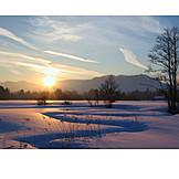 Winter landscape, Evening