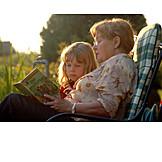 Grandmother, Grandson, Reading, Listening, Generations, Storytelling
