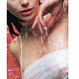 Young woman, Woman, Wet, Waterdrop, Showering