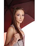 Young woman, Woman, Parasol, Umbrella
