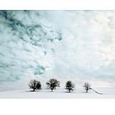 Winter landscape, Cloudy sky