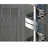 Industrial building, Facade, Gray, Spiral staircase