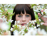 Woman, Cherry blossom, Spring, Summer freckle