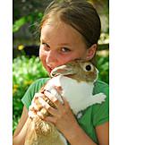 Girl, Pets, Animal loving, Domestic rabbit