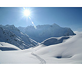 Sun, Winter landscape, European alps, Trail