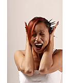 Young woman, Woman, Stress & struggle, Cover ears