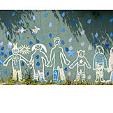Friendship, Togetherness, Mural, Child's drawing