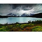 Thundercloud, Lake, National park, Torres del paine