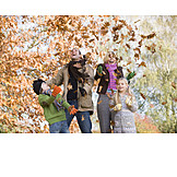 Fun & happiness, Autumn leaves, Family, Walk