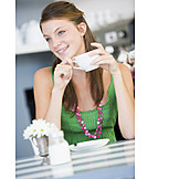 Young woman, Woman, Coffee, Cafe, Coffee time