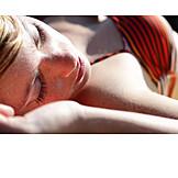 Young woman, Woman, Sunny, Sunbathing