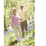 Senior, Walk, Love couple, Spring stroll