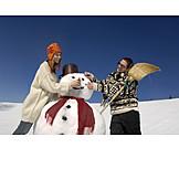 Couple, Winter, Snowman