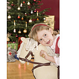 Girl, Christmas, Rocking horse