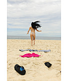 Young woman, Running, Undressing, Beach holiday
