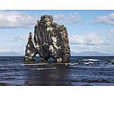 Rock, Basalt, Iceland, Rock formation, Volcanic rock, Basalt rock, Hvitserkur