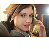Young woman, On the phone