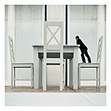 Man, Chair, Table, Surreal