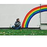 Rainbow, House wall, Cross, Legged