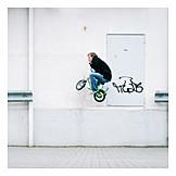 Jump, Cyclists, House wall