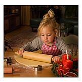 Girl, Baking, Christmas cookies