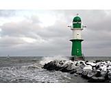 Sea, Winter, Lighthouse