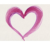 Pink, Heart, Watercolor painting