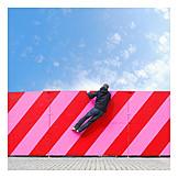 Man, Curiosity & expectation, Curious, Barrier, Diagonal