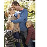 Happy, Embracing, Family, Rural scene