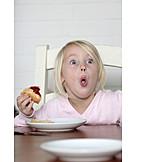 Girl, Breakfast, Grimace, Silly