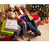 Couple, Christmas shopping, Shopping bags