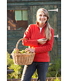 Woman, Harvest, Fruit basket