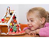 Girl, Christmas, Gingerbread house