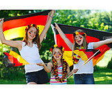 Girl, Cheering, Cheering, Soccer fan, German fans