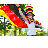 Girl, Cheering, Soccer fan, German fans