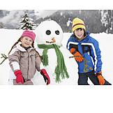 Child, Winter, Snowman, Siblings, Winter Fun