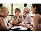 Grandson, Family, Grandparent, Generation, Restaurant
