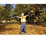 Boy, Autumn, Autumn Leaves, Autumn