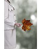 Woman, Autumn, Leaf, Maple Tree