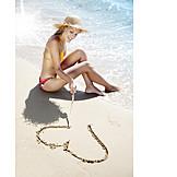 Young woman, Woman, Heart, Loving, Beach holiday, Honeymoon