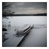 Lake, Winter, Boat, Pier