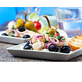Appetizer, Greek cuisine, Squid, Mezes