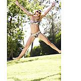 Young Woman, Summer, Jump, Vitality